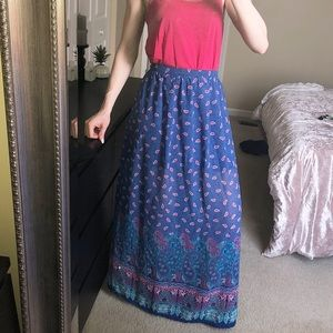 Truth NYC Blue Hot Pink Flowy Maxi Skirt